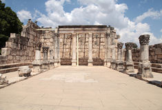 Ruins of ancient synagogue in Capernaum, Israel. Stock Images