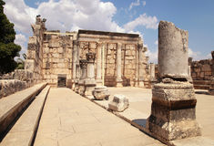 Ruins of ancient synagogue in Capernaum, Israel. Royalty Free Stock Images
