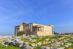 Ruins of ancient temple on Acropolis hill Royalty Free Stock Images