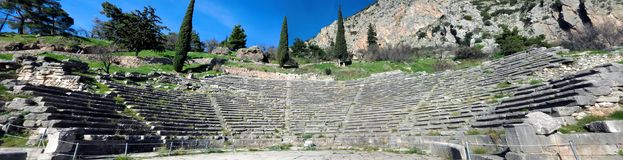 Ruins of the ancient Temple of Apollo at Delphi, Greece. Ruins of the ancient Temple of Apollo at Delphi, theatre, Greece, panoramic Royalty Free Stock Photos