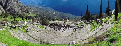 Ruins of the ancient Temple of Apollo at Delphi, overlooking the valley of Phocis. stock image