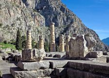 Ruins of the ancient Temple of Apollo at Delphi, overlooking the valley of Phocis, Greece. Ruins of the ancient Temple of Apollo at Delphi, overlooking the Royalty Free Stock Image