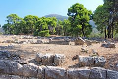 Ruins of ancient temple in Epidavros, Greece stock images