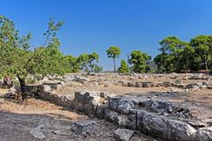 Ruins of ancient temple in Epidavros, Greece royalty free stock image