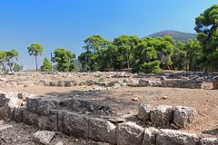 Ruins of ancient temple in Epidavros, Greece stock photo