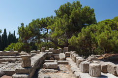 Ruins of the ancient temple on Filerimos hill & x28;Ialyssos& x29; Stock Photos