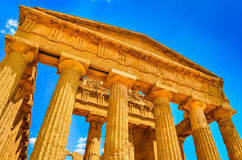 Ruins of ancient temple front pillars in Agrigento, Sicily Royalty Free Stock Images