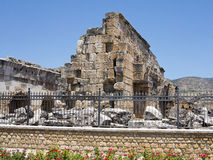 Ruins of the ancient temple in Hierapolis and blue sky Stock Image