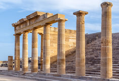 Ruins of ancient temple in Lindos, Rhodes. Ruins of ancient temple in the Lindos, Rhodes stock image