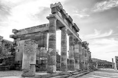 Ruins of ancient temple in the Lindos, Rhodes, Black and white Royalty Free Stock Photography