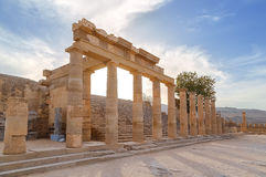 Ruins of ancient temple in Lindos, Rhodes, Greece. Ruins of ancient temple in Lindos, Rhodes royalty free stock image