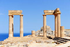Ruins of ancient temple. Lindos. Rhodes island. Greece stock image