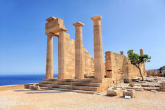 Ruins of ancient temple. Lindos. Rhodes island. Greece royalty free stock image