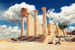 Ruins of ancient temple. Lindos. Rhodes island. Greece stock images