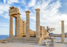 Ruins of ancient temple. Lindos. Rhodes island. Greece. Ruins of ancient temple. Lindos. island Greece stock images