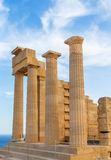 Ruins of ancient temple. Lindos. Rhodes island. Greece Europe Stock Photography