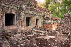 Ruins of ancient temple lost in jungle Stock Photography