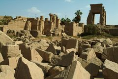 Ruins of an Ancient Temple in Luxor, without people, Thebes, UNESCO World Heritage Site, Egypt Stock Photos