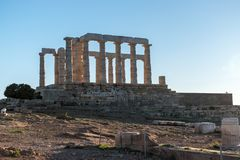 Ruins of the ancient temple of Poseidon at sunset. stock photography