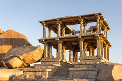 Ruins of ancient temple at sunset, Hampi, India Royalty Free Stock Image