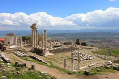 Ruins of the ancient temple of Trajan in Bergama Acropolis Royalty Free Stock Photography