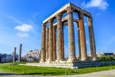 Ruins of ancient temple of Zeus, Athens, Greece. Ruins of temple of Zeus, light HDR photo royalty free stock image