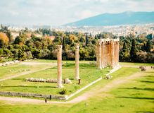 Ruins of ancient temple Zeus, Athens, Greece. Ruins of ancient temple of Zeus, Athens, Greece, tilt and shift stock images