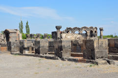 The ruins of the ancient temple of Zvartnots, Armenia Royalty Free Stock Image