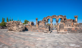 The ruins of the ancient temple of Zvartnots, Armenia Stock Photos