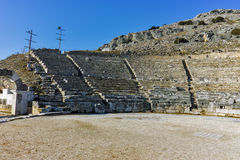 Ruins of Ancient Theater in the archeological area of Philippi, Greece Stock Image
