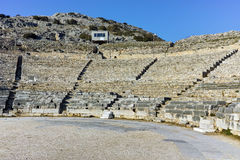 Ruins of Ancient Theater in the archeological area of Philippi, Greece Stock Photos