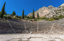 Ruins of ancient theater in Delphi Stock Photography