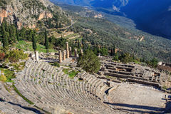 Ruins of ancient theater in Delphi Royalty Free Stock Photo