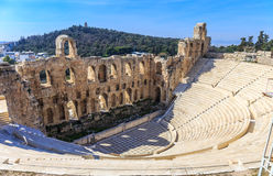 Ruins of ancient theater of Herodion Atticus Royalty Free Stock Images