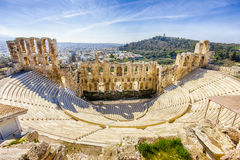 Ruins of ancient theater of Herodion Atticus, HDR from 3 photos Royalty Free Stock Photography