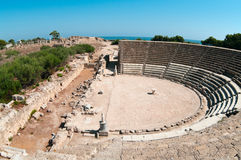 Ruins of ancient theater in Salamis Stock Photo
