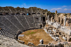 Ruins of ancient theater in Side, Turkey royalty free stock photography