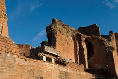 Ruins of ancient theater in Taormi Royalty Free Stock Photography