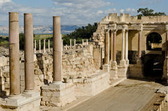 Ruins of the ancient theatre of beth-shean Royalty Free Stock Images