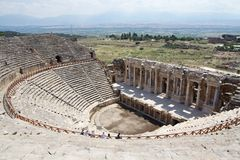 Ruins of ancient theatre in Hierapolis, Turkey Royalty Free Stock Images