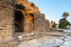 Ruins of the ancient theatre in Side, Turkey. Antalya greek antique city architecture travel building old roman landmark historical heritage theater past stone stock images