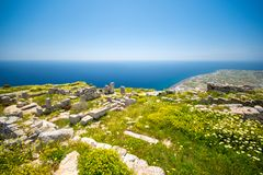 The ruins of ancient Thira, a prehistoric village at the top of the mountain Mesa Vouno, Santorini Royalty Free Stock Image