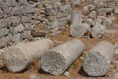 Ruins of the Ancient Thira town, Santorini island Royalty Free Stock Photo