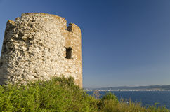 Ruins of the ancient tower. At seaside Nessebar, Bulgaria royalty free stock photography