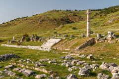 Ruins of the ancient town Hierapolis, now Pamukkale. Turkey stock photography