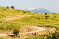 Ruins of the ancient town Hierapolis, now Pamukkale. Turkey stock photo