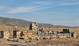 Ruins in the ancient town Hierapolis Turkey Royalty Free Stock Photo