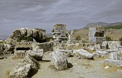 Ruins in the ancient town Hierapolis Turkey Royalty Free Stock Photos