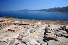 Ruins of ancient Tripitos. A view of the ruins of the Hellenistic (c. 2nd century BC) town of Tripitos, on the north coast of Crete east of Sitia, Lasithi Stock Images