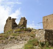 Ruins of ancient Venetian windmills built in 15th century, Lassithi Plateau, Crete, Greece. Most typical characteristic of the Plateau. In the past, they Stock Image